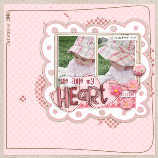 She Stole My Heart Digital Scrapbooking Page