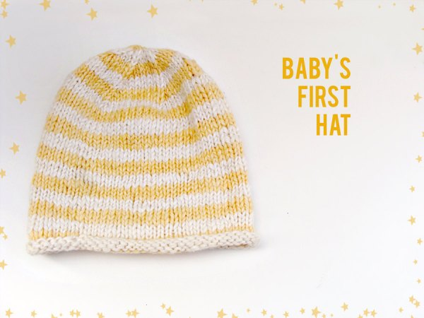 Baby's First Hat, Striped Yellow and White Hand knit, Organic Cotton & Bamboo