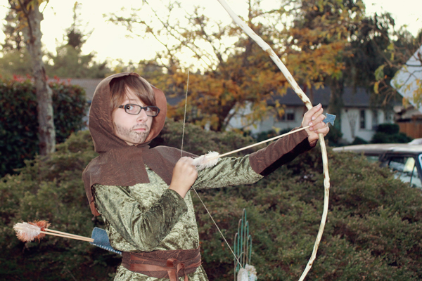 medieval ranger costume, diy bow and arrows