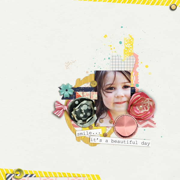 Beautiful Day Smile Digital Scrapbook Page by Tania Shaw